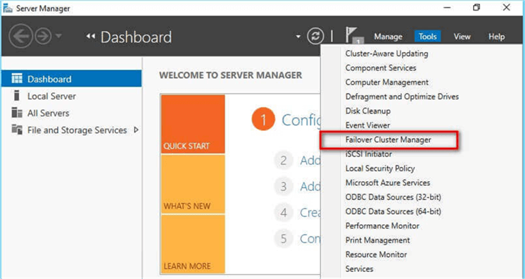 the Failover Cluster Validation Wizard from the Failover Cluster Management console