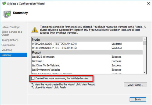 Creating the Windows Server 2016 Failover Cluster (WSFC)