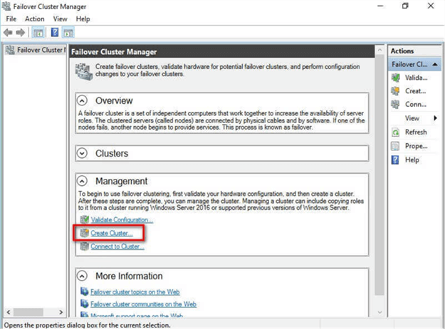 1. Within the Failover Cluster Manager console, under the Management section, click the Create Cluster... link
