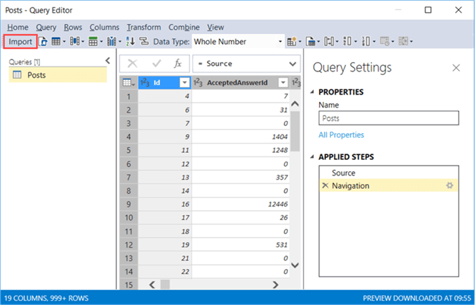 click on Import to load the table to the model in Visual Studio