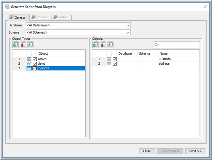 Generate Script Object Selection - Description: Generate Script Object Selection