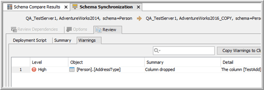 Schema sync warning - Description: sync warning