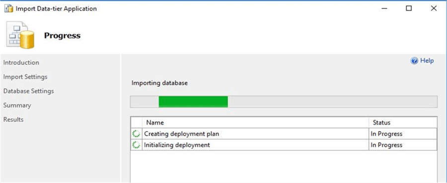 Import Data-tier Importing database