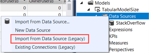 create legacy data source