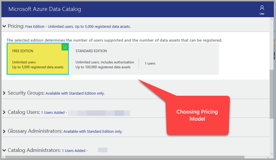 Choosing the pricing model with Azure Data Catalog