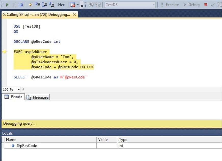 Debugging T-SQL Code in SQL Server Management Studio