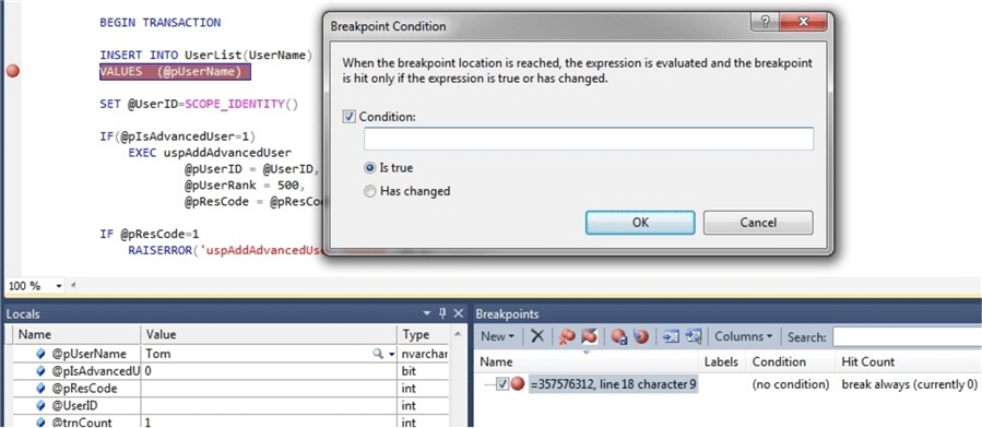 breakpoint condition in ssms