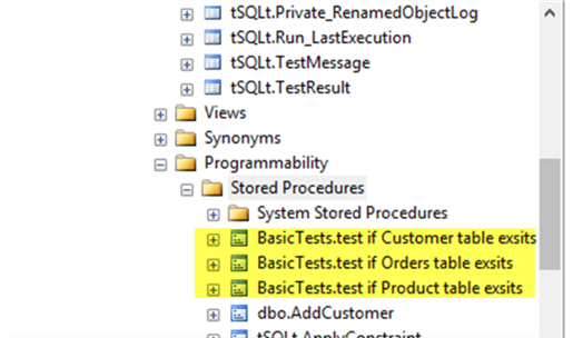 BasicTests created - Description: This screenshot is about basic object exists tests created successfully.