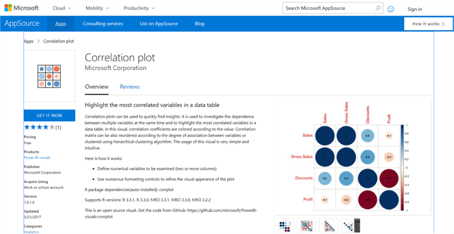 Download Correlation Plot for Power BI Desktop - Description: Download Correlation Plot