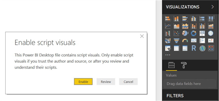 Enable Script Visuals in Power BI Desktop - Description: Install