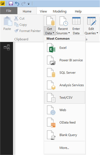 Add CSV data to Power BI Desktop - Description: Add CSV