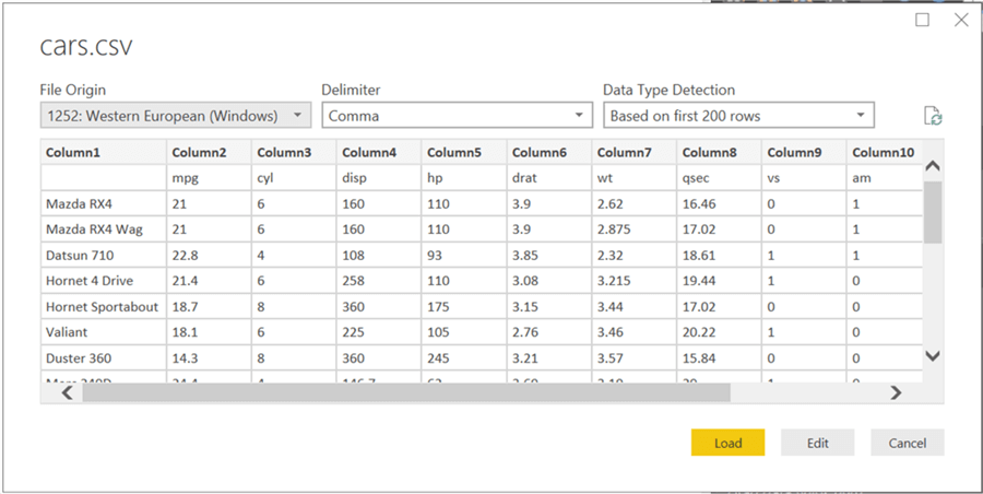 Data Preview in Power BI Desktop - Description: Preview