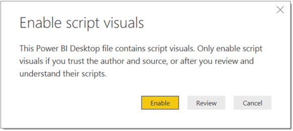 Warning to enable Script Visuals in Power BI Desktop - Description: Warning