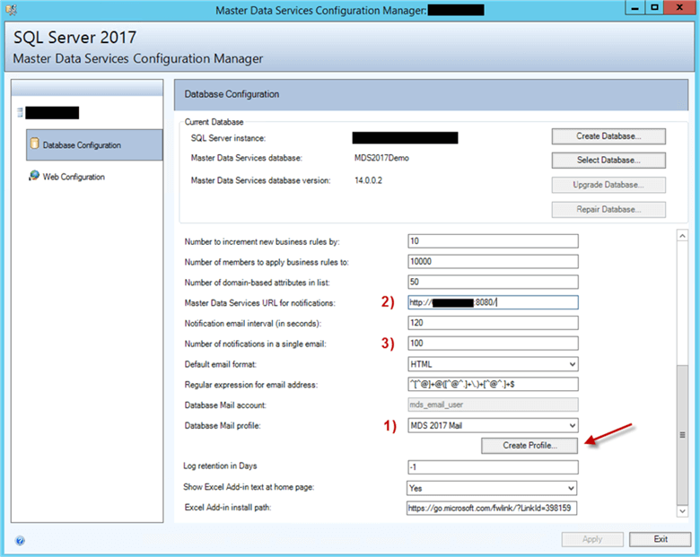 Notifications Settings in MDS Configuration Manager