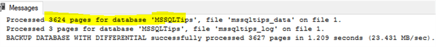 set @debug=0 in Fig-1 script, we will automatically run the differential backup