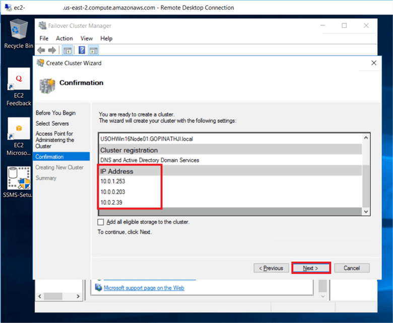On the Confirmation dialog box, verify the windows failover cluster Static IP address and click Next.  - Description: On the Confirmation dialog box, verify the windows failover cluster Static IP address and click Next.