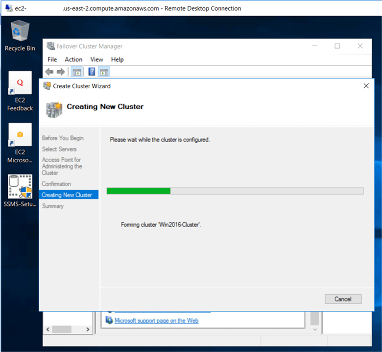 On the creating New Cluster dialog box, Windows cluster creation is in progress. - Description: On the creating New Cluster dialog box, Windows cluster creation is in progress.