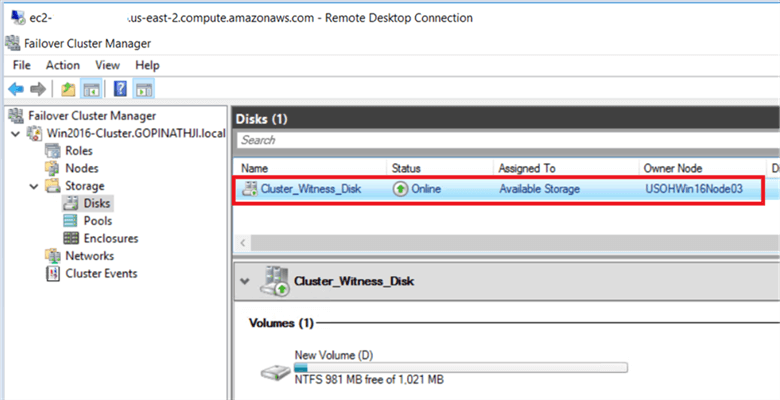 On the Failover Cluster Manager console, under the storage option, we added disk into cluster to use witness as disk. - Description: On the Failover Cluster Manager console, under the storage option, we added disk into cluster to use witness as disk.