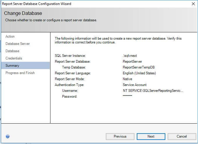 SQL Server Reporting Services- configure report server- summary of Report Server Database Configuration Wizard