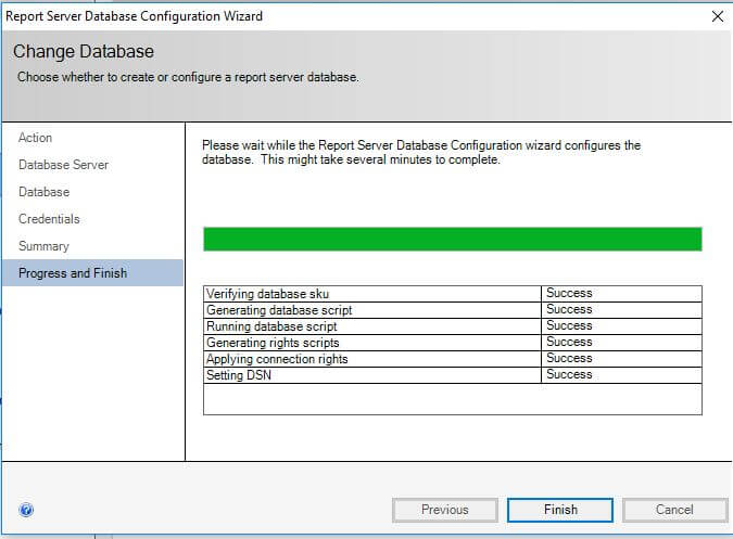 SQL Server Reporting Services- configure report server- Report Server Database Configuration Wizard progress