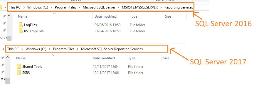 SQL Server Reporting Services directory level change