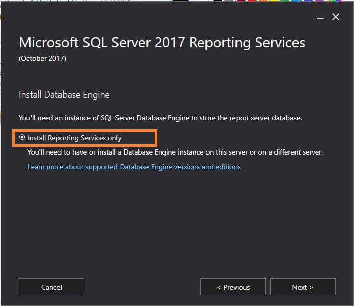 SQL Server Reporting Services- install reporting services only