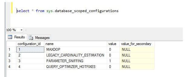 SQL Server 2016 Database Scoped Operation