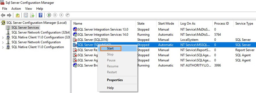 SQL Server configuration manager and start services