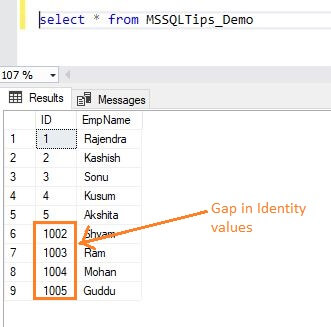 verify the insert records and see the gap in identity