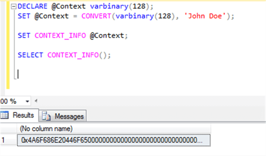 CONTEXT_INFO without conversion
