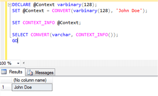 CONTEXT_INFO with conversion