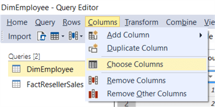 choose columns query editor