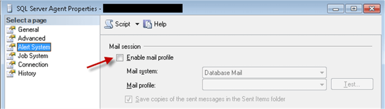 Enable Mail profile - Description: SQL Server Agent properties (Alert System) - Enable Mail profile