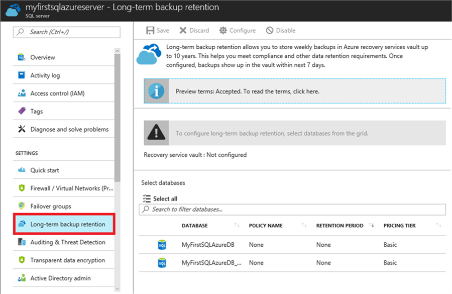 Azure SQL Database Backup and Restore Overview