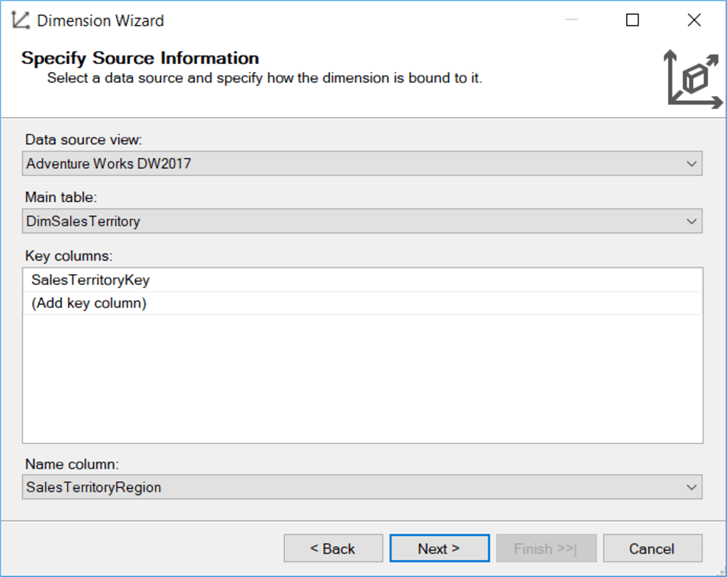 configure name and key column