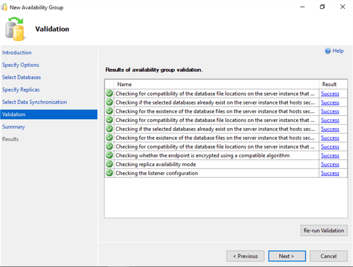 validate availability group settings
