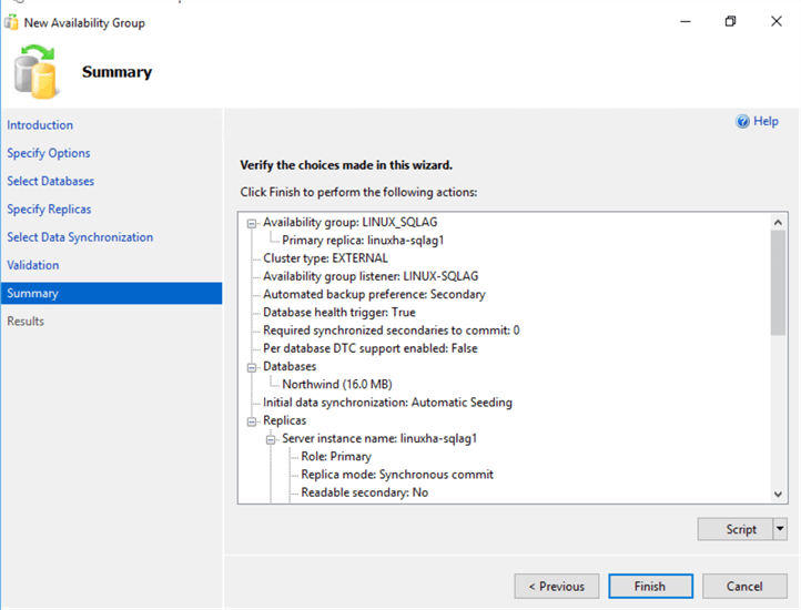 summary availability group settings