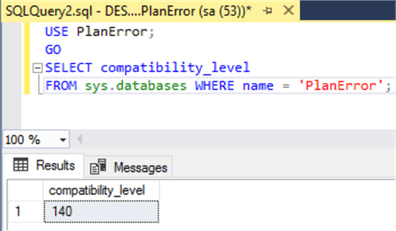 check sql server database compatibility level