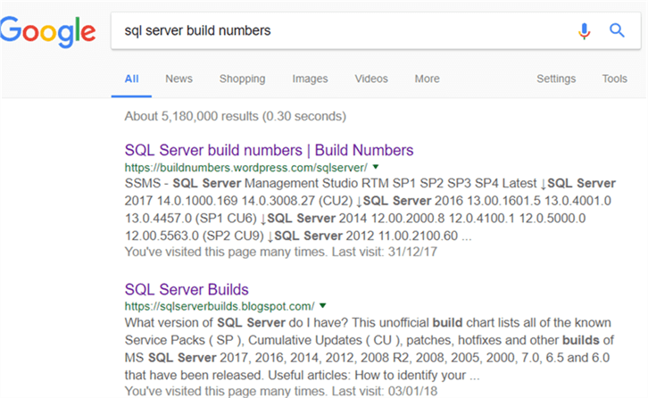 "GoogleResult - Description: Google result for ""sql server build numbers"""