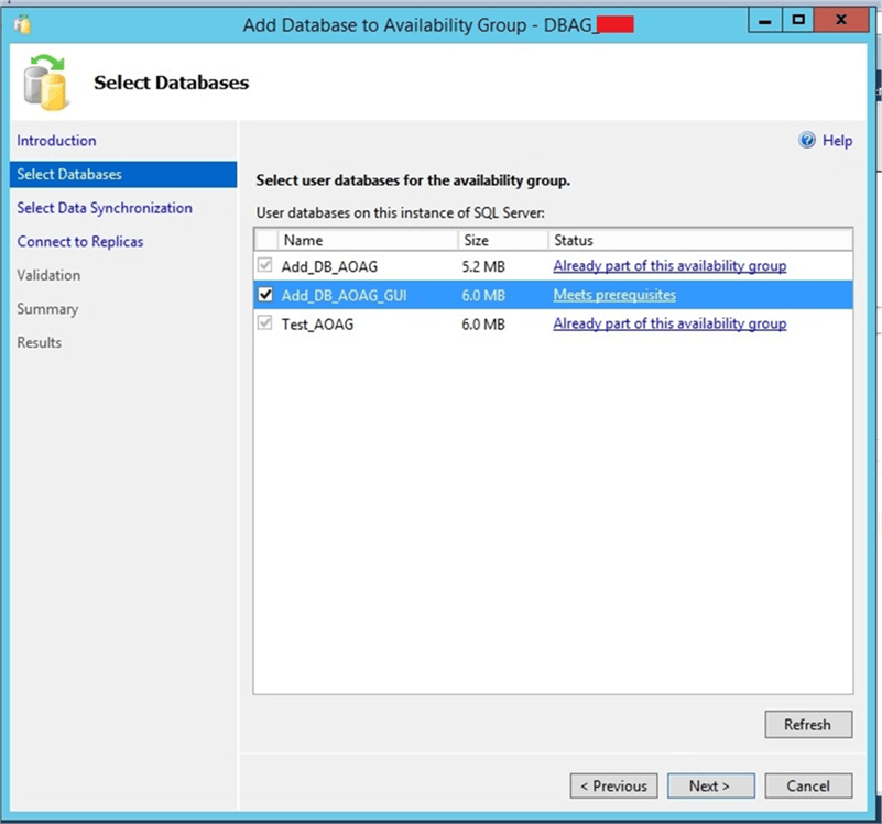 Select identified database in configuration window - Description: Select identified database in configuration window