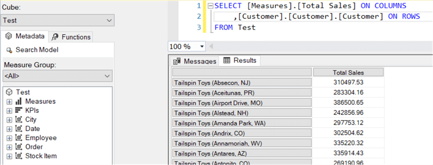 querying customer table through Test perspective