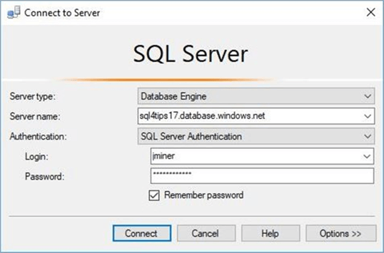 SSMS - Connect to server - Description: Starting our POC effort.