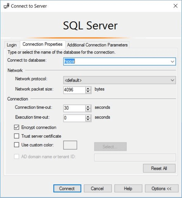 SSMS - Connection properties - Description: Using the properties tab to select a default database.