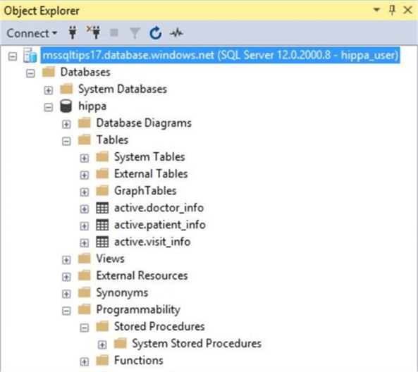 SSMS - Database objects - Description: Schemas hide the audit objects from the normal user.