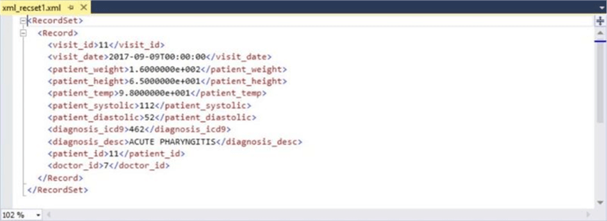 Query - XML record data - Description: This is the detailed information from the delete statement.