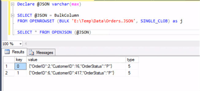 Using OpenJSON for JSON file - Description: Using OpenJSON for JSON file