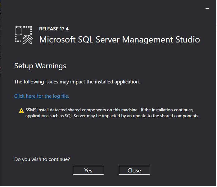SSMS 17.4 setup progress