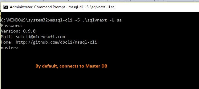 MSSQL-cli installation successfully installed