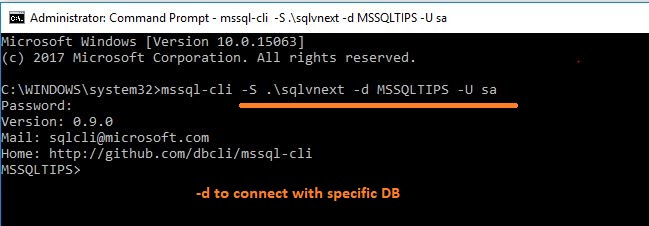 MSSQL-cli connect to specific DB.