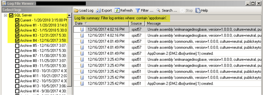 Even log example (CLR) - multiple logs
